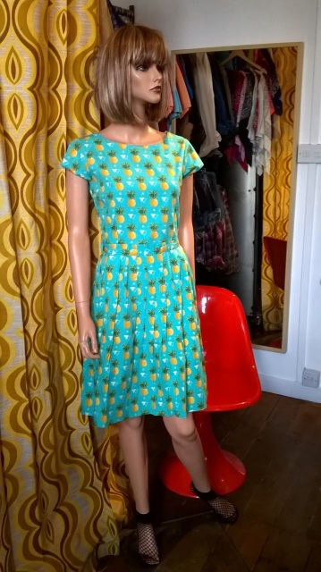 ea49cc3e1acd RUN & FLY 50'S STYLE TEA DRESS WITH ALL OVER PINEAPPLE PATTERN