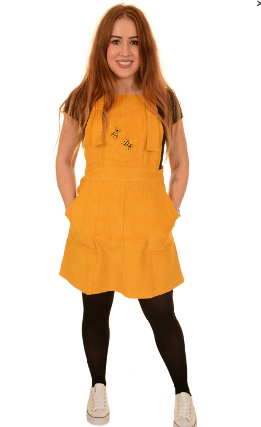 376dda47f031 Run & Fly yellow cord pinafore with bee motif